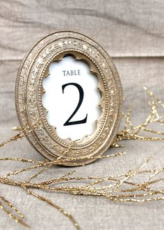 I love the vintage feel of this and the gold: customizable Elegant Wedding Table numbers Laura McKittrick, The Greenwich Girl, tells all on TheGreenwichGirl.com