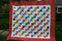 #MSQC  pattern of stacked falling charms queen quilt.