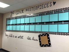 Display students' artwork with colorful borders and frames.  The clothespins make it easy to switch out artwork pieces throughout the year.