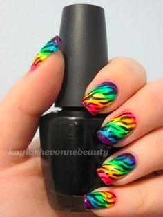 Neon rainbow zebra nail art