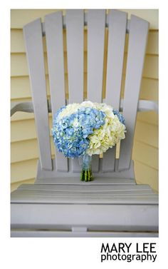 Blue and White Hydrangea Bouquet