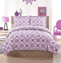 Baroque Circles Bedding  Bright purple circles with a deep purple reverse   make this a great coordinate to your room. This   easy care fabric is perfect for your dorm and can   coordinate with a variety of accessories.