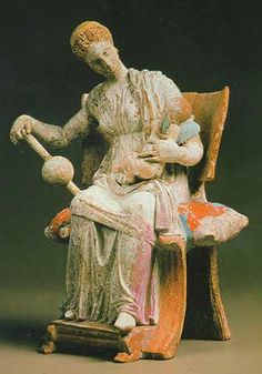 Aphrodite playing with Eros, late 4th century, terracotta, from Tanagra, Greece  Hermitage Museum