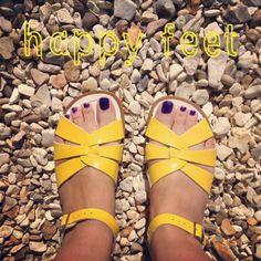 Bright yellow SaltWater sandals = happy feet