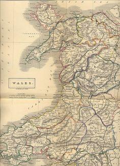 Vintage map of Wales -