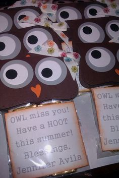 I'd love to do something similar to this since my teacher's theme is owls... this one looks complicated though!  Last Day of School Idea