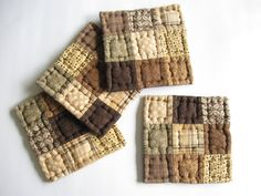 Quilted Coasters Mug Mats Fabric Coasters Brown and Neutral Rustic Country Decor Farmhouse Decor Kitchen Housewares Primitives Country Decor