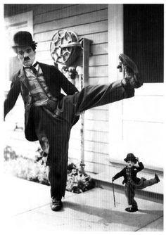 Charlie Chaplin with the Charlie Chaplin Doll.
