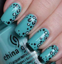 Lucy s Stash  #nail #nails #nailart polka dots, color, glaze aquadel, china glaze, summer nails, nail arts, summer nail art, green nails, polka dot nails