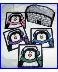 Penguin Coaster Set plastic canva, penguin diy