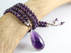 Mala Beads - Amethyst Mala Beads  - Meditation Beads  - Amethyst Necklace