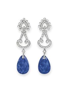 A PAIR OF SAPPHIRE AND DIAMOND EAR  PENDANTS, BY CARTIER