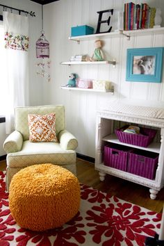 Colorful eclectic with white walls Add: textured walls