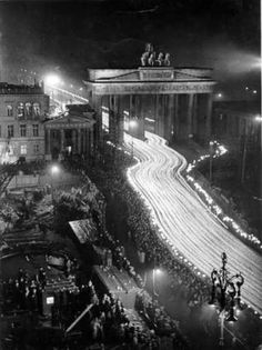 Triumphal torchlight parade to celebrate Hitler's elevation to the Chancellorship of Germany, 30 January, 1933. Delayed exposure photo taken from the upper stories of the Adlon Hotel, Berlin.