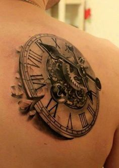 """steampunk clock tattoo.   tattoo with the quote """"Do Not Squander Time, For It Is the Stuff Life Is Made Of"""".  Set to the time that I was born"""