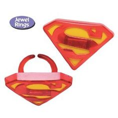 Superman Cupcake Toppers - Party Favors Rings - 12 ct.
