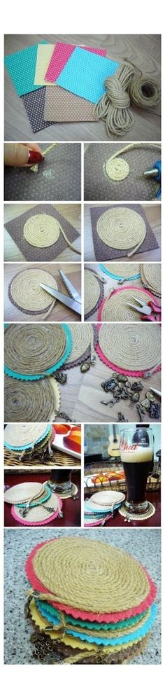 cute DIY coasters with twine and charms attached