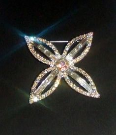 287-Stunning-Vintage-Silvertone-Aurora-Borealis-AB-Clear-Rhinestones-Brooch-Pin