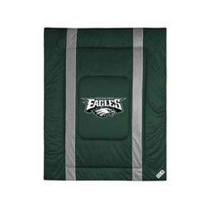 Sports Coverage 01JSCOM1EAGTWIN Sideline Philadelphia Eagles Twin Comforter in Green