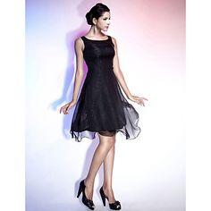 A-line Straps Knee-length Chiffon Satin Cocktail Dress  – USD $ 99.99