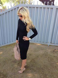 fit midi, fashion, cloth, midi dress, longsleev dress, dresses, classi, closet, midi black dress