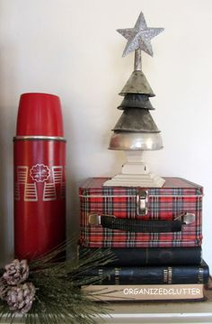 Oil funnel junk Christmas tree, by Organized Clutter featured at I Love That Junk - I'm in love!