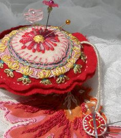 Red Emery Pincushion with Pin Magnet
