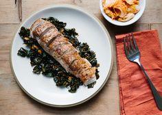 Pork Tenderloin with Kale and Kimchi - Bon Appétit