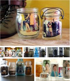 Old jars make easy photo displays. | 51 Insanely Easy Ways To Transform Your Everyday Things
