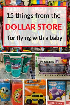 15 items from the Dollar Store for flying with a baby