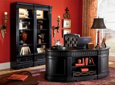 Nice and Graceful European Home Office Decoration Idea with Luxurious Furnishing