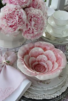 table settings, rose, bowl, pink flowers, birthday parties, white dishes, tea, pink peonies, china