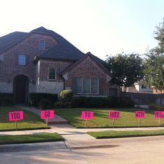 Pinner said: In our neighbors yard this morning. What a creative way to ask someone to homecoming!! (or prom, etc.)
