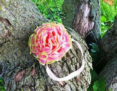 Rosy Apple Flower and Headband Set.  Super springy, and super full!