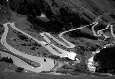 Passo dello Stelvio - Dolomites - Italy - looking down the mountain