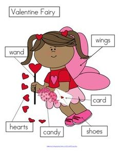 FREE *** 3 ways to label a Valentine Fairy:- cut and paste written labels on top of words; - cut and paste written labels on blank labels; - or write the words in the blank labels. 4 pages