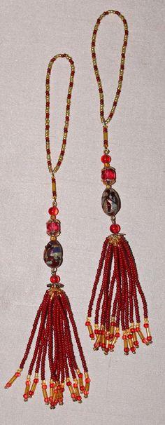 BEADED TASSELS Burgundy-rose vintage beads home by GMBDesignsCustom, $18.00