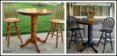 Before and after refinished and distressed bar stools and table