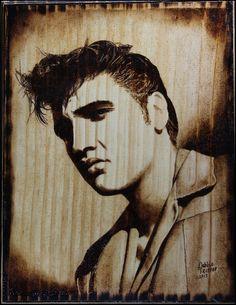 Elvis Wood Burned Portrait by Debbie-Trotter.deviantart.com on @deviantART