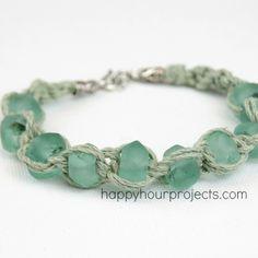 Glass Bead Macrame Bracelet at www.happyhourprojects.com