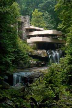 Frank Lloyd Wright Falling Water House Over Waterfall