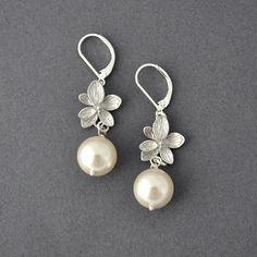 Pearl Orchid Earrings Pearl Earrings Wedding by myjewelrystory, $18.00