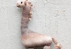 Stuffed Giraffe knitted toy, made using Schachenmayr Original