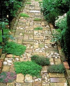 You don't necessarily need a huge quantity of bricks to make an interesting pathway or walkway through the garden. Combine leftover bricks with other building materials to make a circular design for interest or as a small patio, or different materials and plants to soften the look of a pathway that winds through your garden. It makes the trip oh so more interesting.
