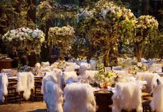 Reception chair topped with a white fur rug at Sean Parker's wedding