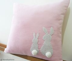 Two Little Lovely Rabbits Soft Pink Pillow Cover. Spring Summer Bunny. Pom Pom Appliques. $25.50, via Etsy. rabbit, pom poms, soft pink, spring summer, nurseri, pillow covers, appliqu, summer colors, babies rooms