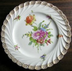 Decorative Dishes - Shabby Euro Porcelain Purple Daisy Gold Edge Swirl Hand Painted Plate, $19.99 (http://www.decorativedishes.net/shabby-euro-porcelain-purple-daisy-gold-edge-swirl-hand-painted-plate/)