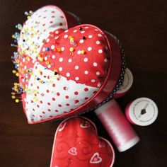 Pin Love Pin Cushion - learning how to make a pin cushion like this one will yield a cute and functional piece!