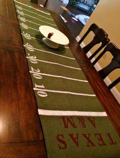 Burlap Football Table Runner