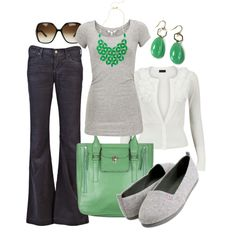 jean, work clothes, mint green, statement necklaces, color combos